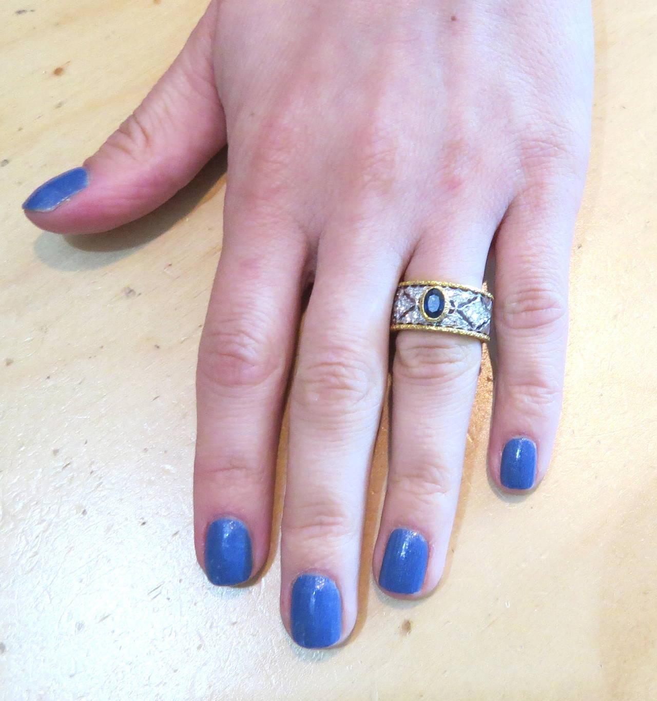 Mario Buccellati Sapphire Diamond Gold Ring 4