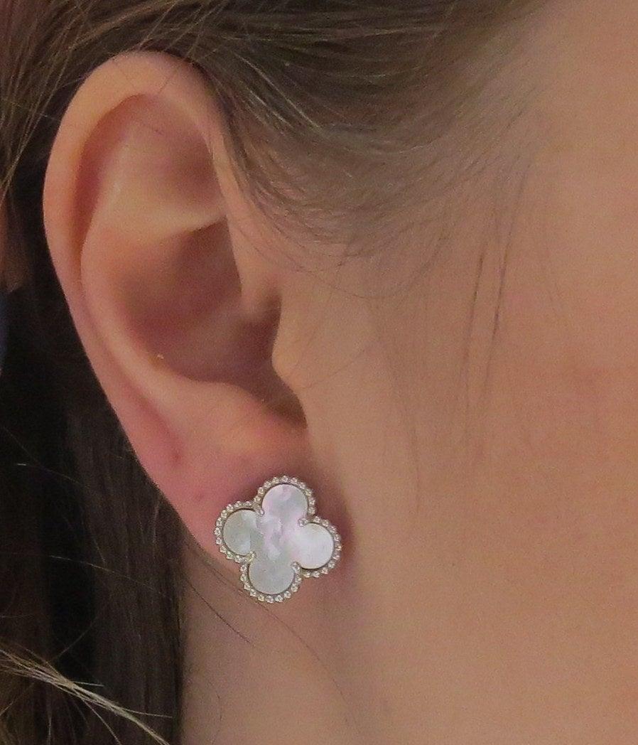 Van Cleef & Arpels Vintage Alhambra Mother Of Pearl Gold Earrings 3