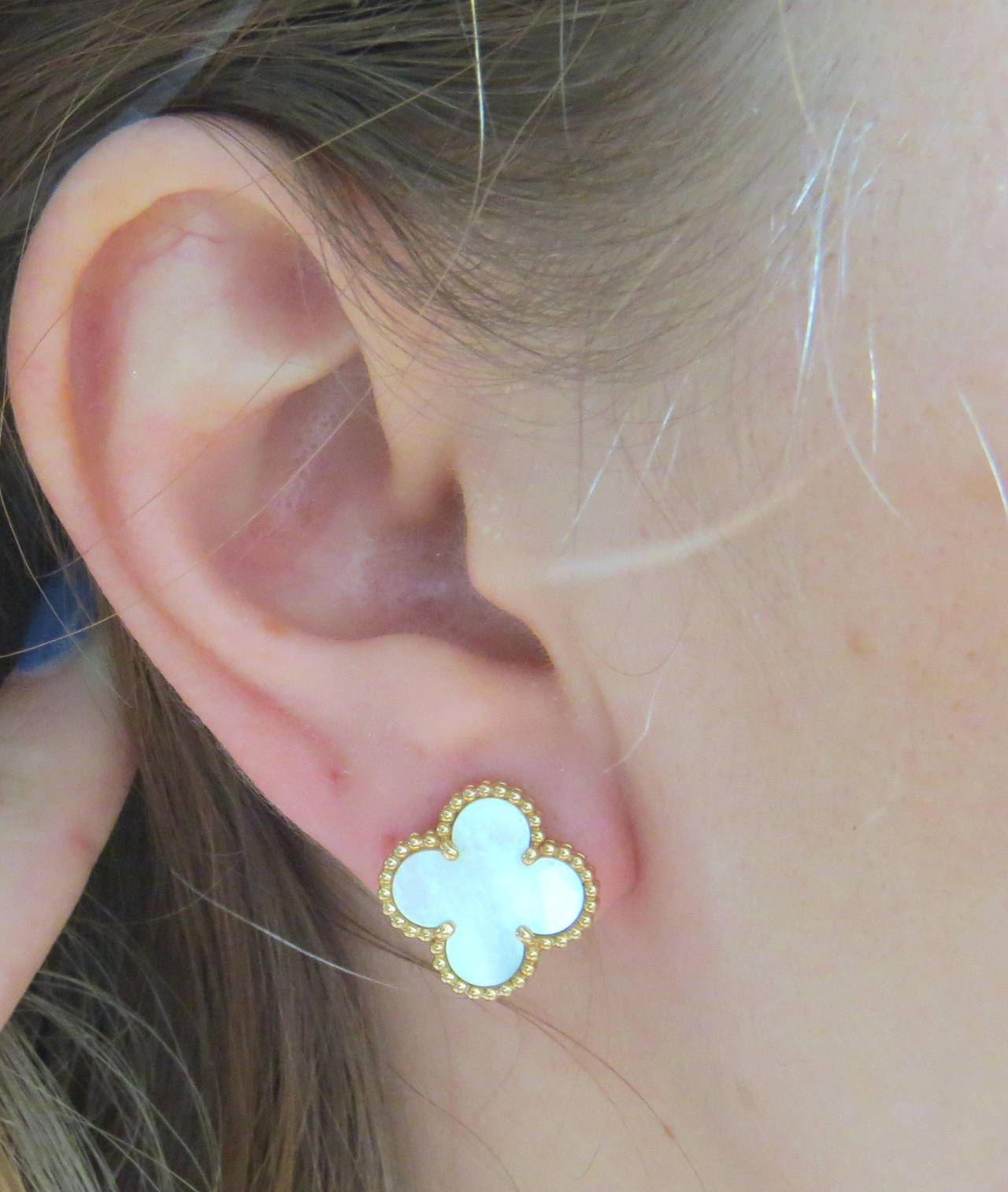 Van Cleef Arpels Special Edition Mother Of Pearl Gold Alhambra Earrings In Excellent Condition For