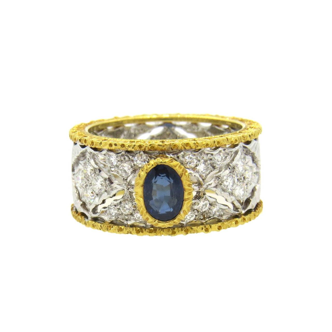 Mario Buccellati Sapphire Diamond Gold Ring 1