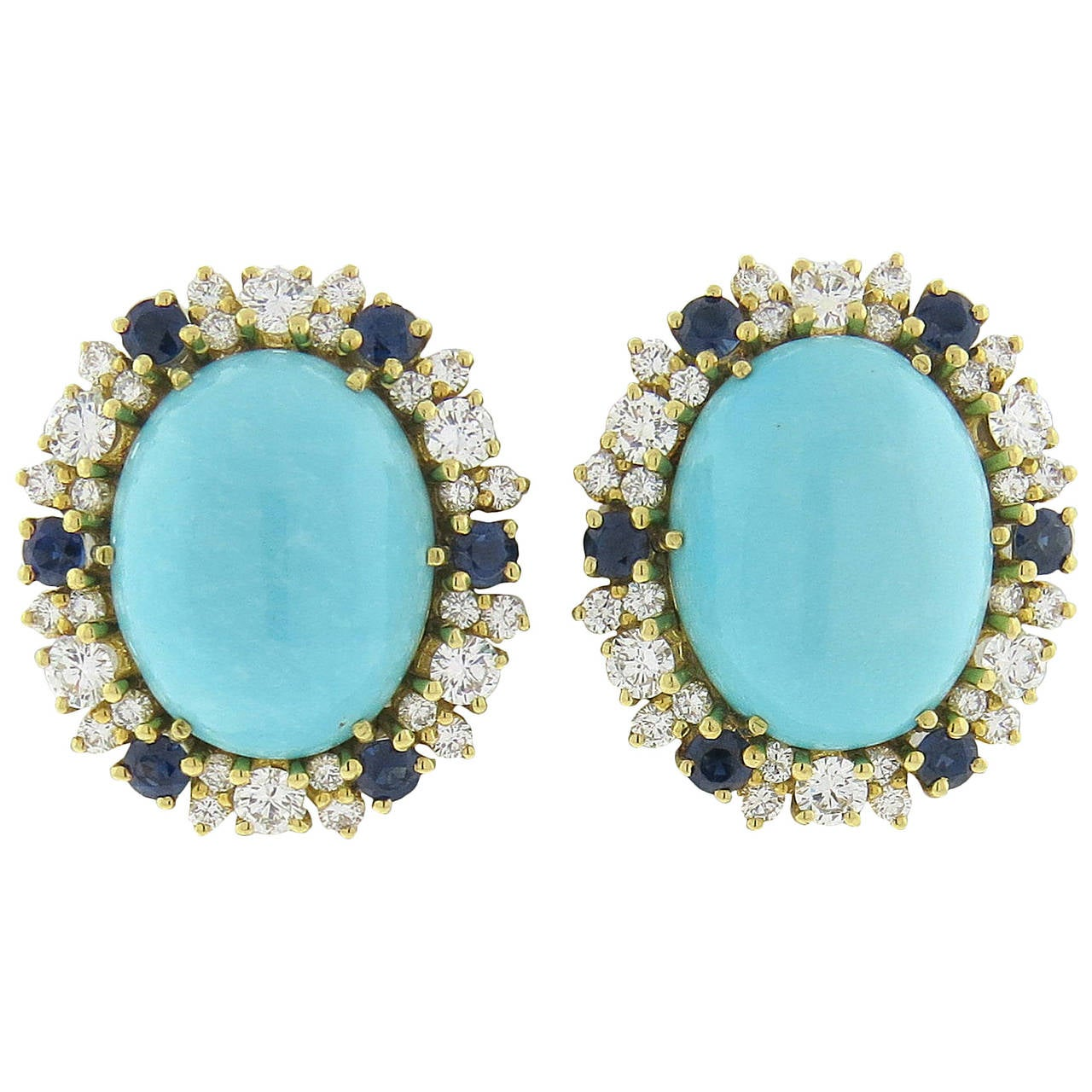 Impressive Sapphire Turquoise Diamond Gold Earrings