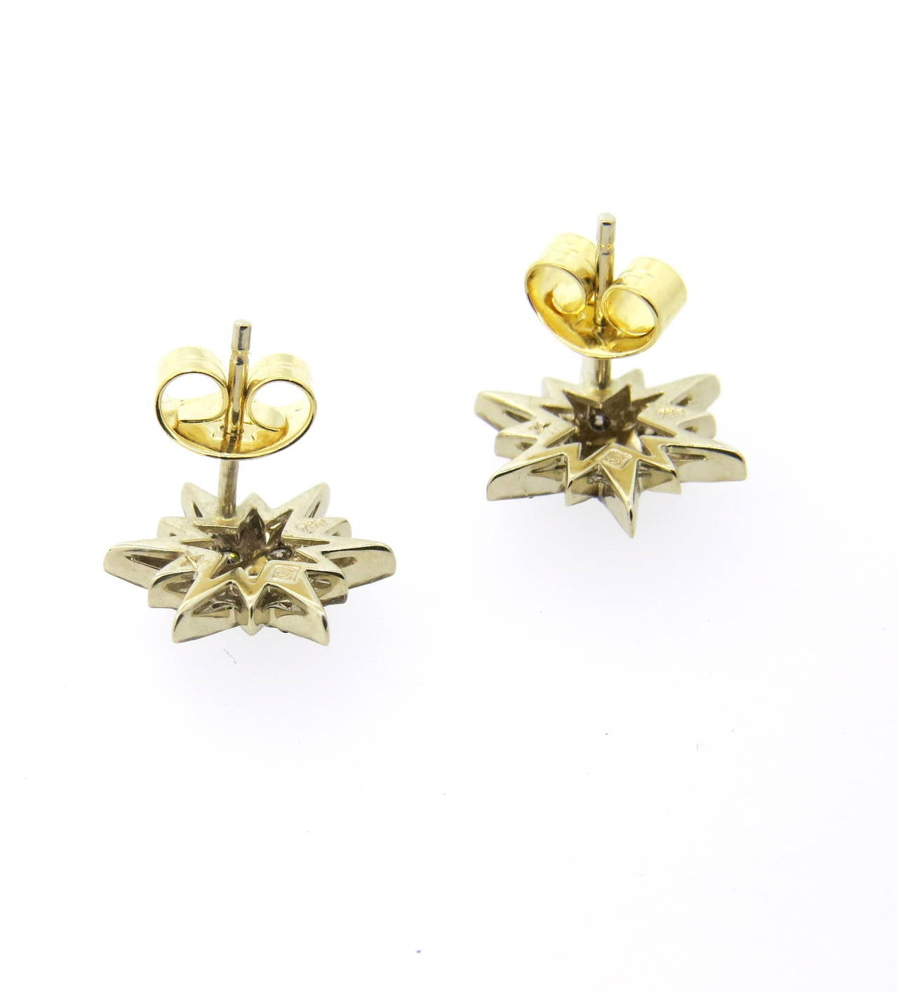 h collection diamond gold stud earrings at 1stdibs