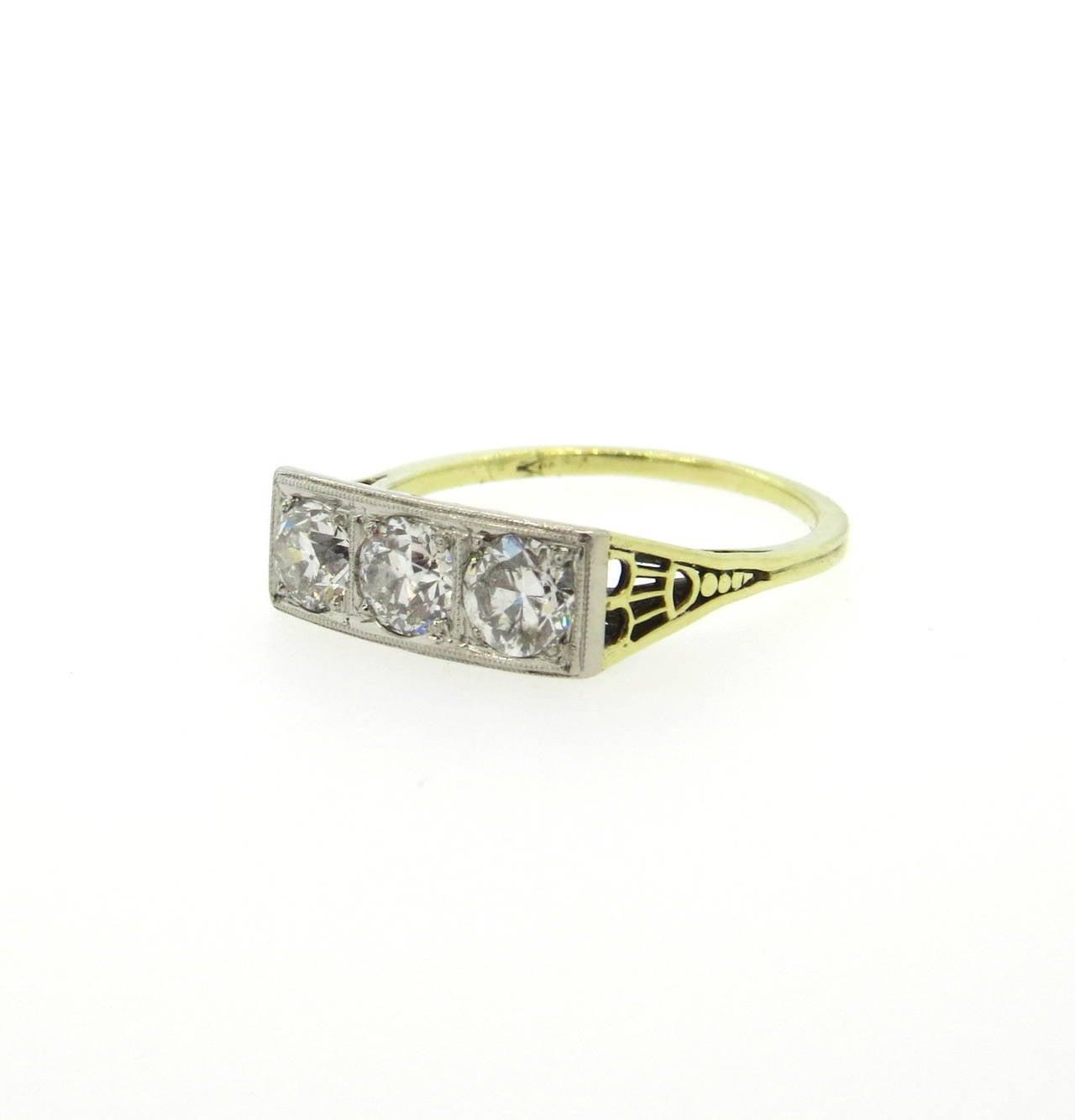 1920s deco gold three ring at 1stdibs