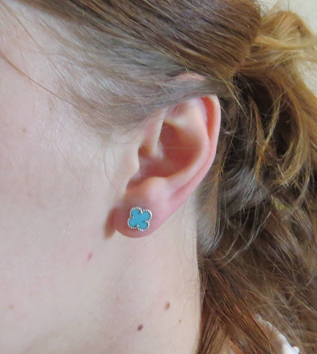 Women S Van Cleef Arpels Sweet Alhambra Turquoise Gold Earrings For