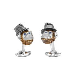 Deakin & Francis Sterling Sapphire Enamel Chimpanzee with Hat Cufflinks