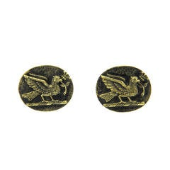 Julius Cohen Gold Bird Oval Cufflinks