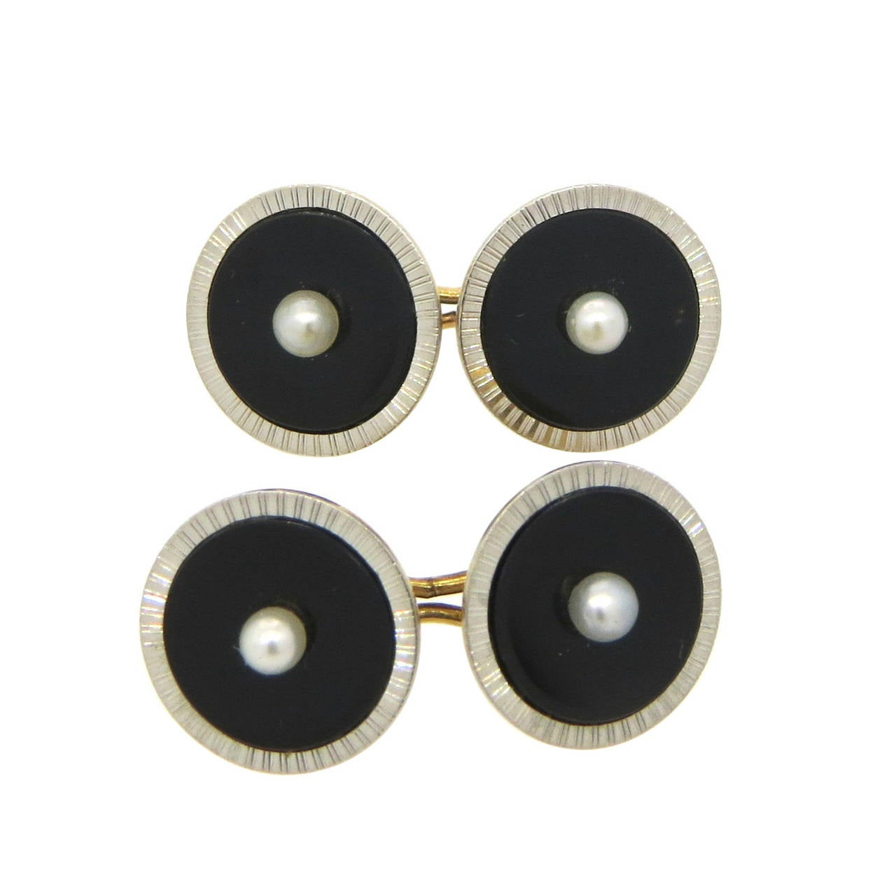 Art Deco Onyx Pearl Gold Platinum Cufflinks