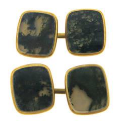 Antique Moss Agate Gold Cufflinks