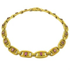 1970s Kieselstein Cord Gold Pink Tourmaline Necklace