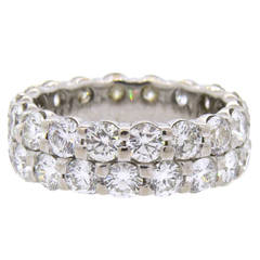 Hearts On Fire Double Row Diamond Gold Eternity Wedding Band Ring