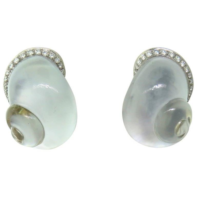 Vhernier Crystal Diamond Mother of Pearl Shell Earrings For Sale