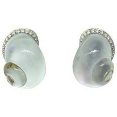 Vhernier Crystal Diamond Mother of Pearl Shell Earrings