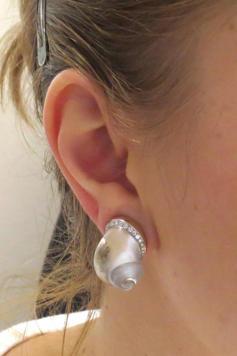 Vhernier Crystal Diamond Mother of Pearl Shell Earrings For Sale 1