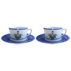 Cartier La Maison Venitienne Porcelain Breakfast Cup with Saucer Set for Two