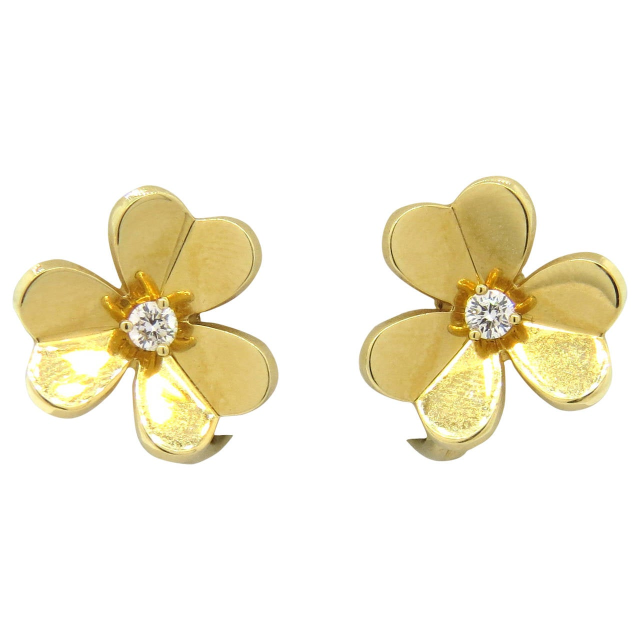 Van Cleef & Arpels Frivole Diamond Gold Flower Earrings 1