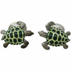 Deakin & Francis Sterling Silver Sapphire Enamel Turtle Cufflinks