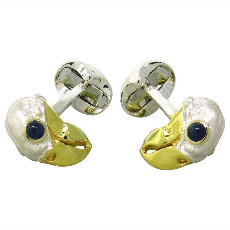 Deakin & Francis Sterling Silver Sapphire Dodo Bird Cufflinks