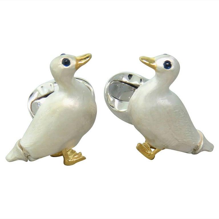 Deakin & Francis Sterling Silver Sapphire Duck Cufflinks