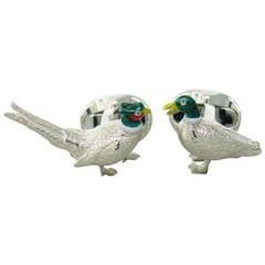 Deakin & Francis Sterling Silver Pheasant and Duck Enamel Cufflinks