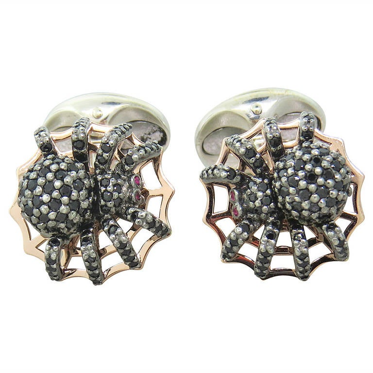 Deakin & Francis Sterling Silver Spinel Spider Cufflinks