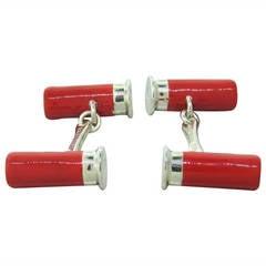 Deakin & Francis Sterling Silver Enamel Red Cartridge Cufflinks