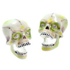 Deakin & Francis Sterling Silver Enamel Diamond Skull Cufflinks