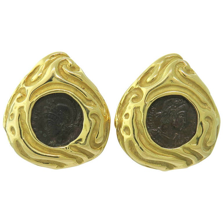 elizabeth gage gold ancient coin earrings for sale at 1stdibs