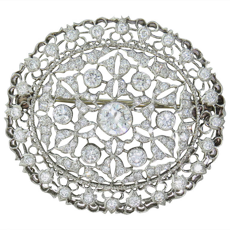 Buccellati Diamond Gold Brooch Pin Pendant For Sale