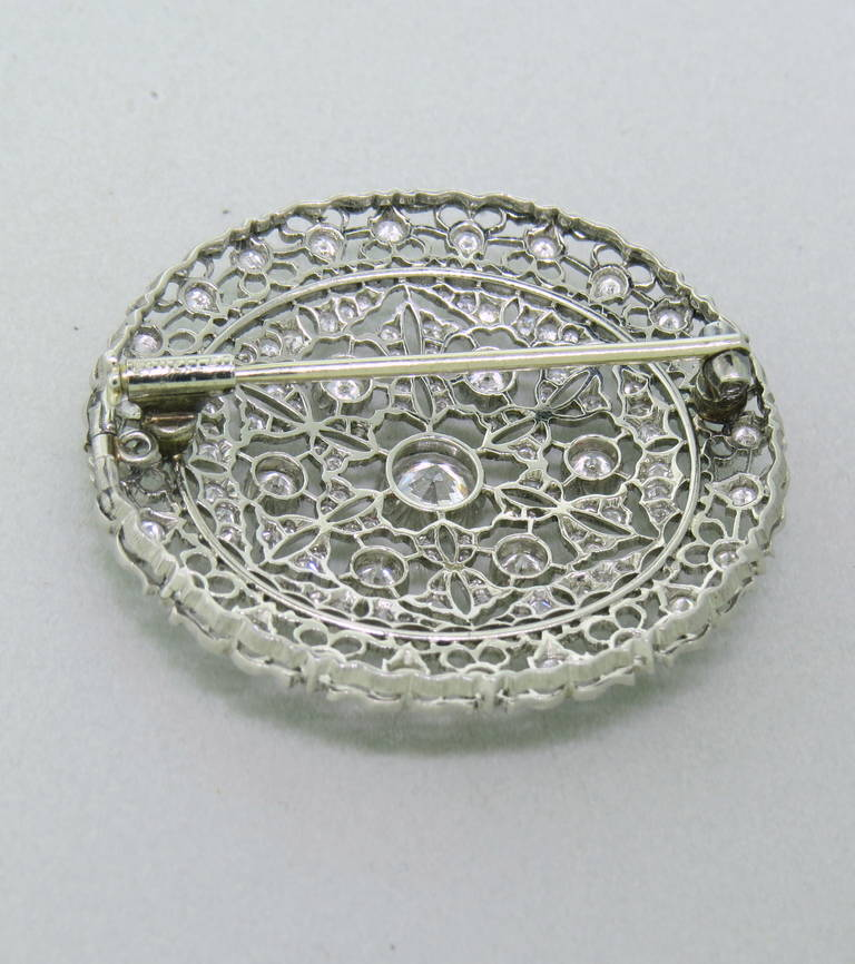 Buccellati Diamond Gold Brooch Pin Pendant In Excellent Condition For Sale In Lahaska, PA