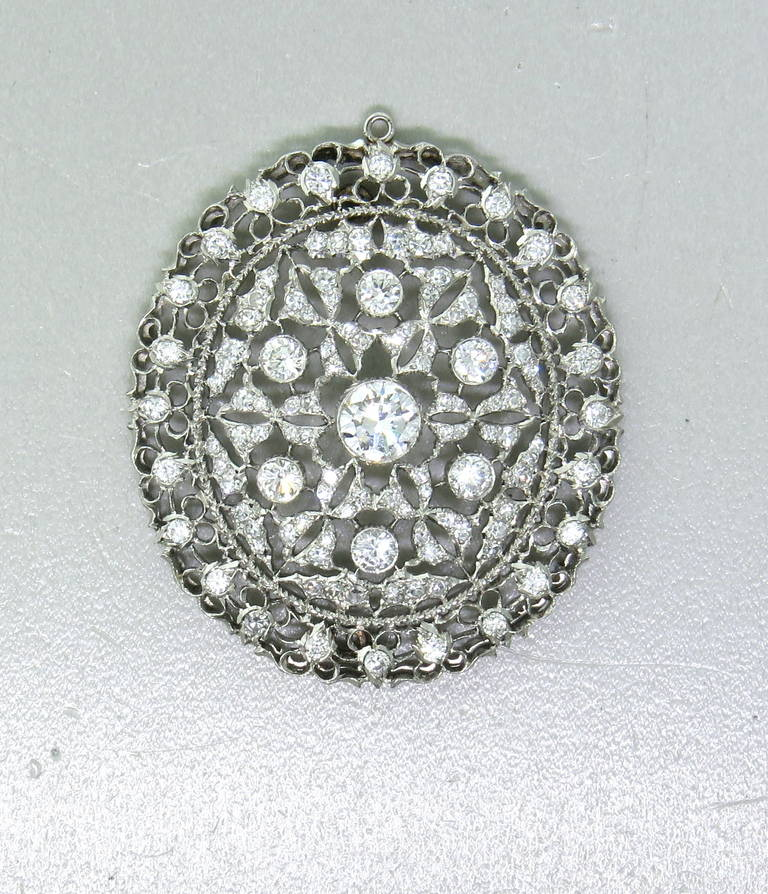 Buccellati Diamond Gold Brooch Pin Pendant For Sale 1