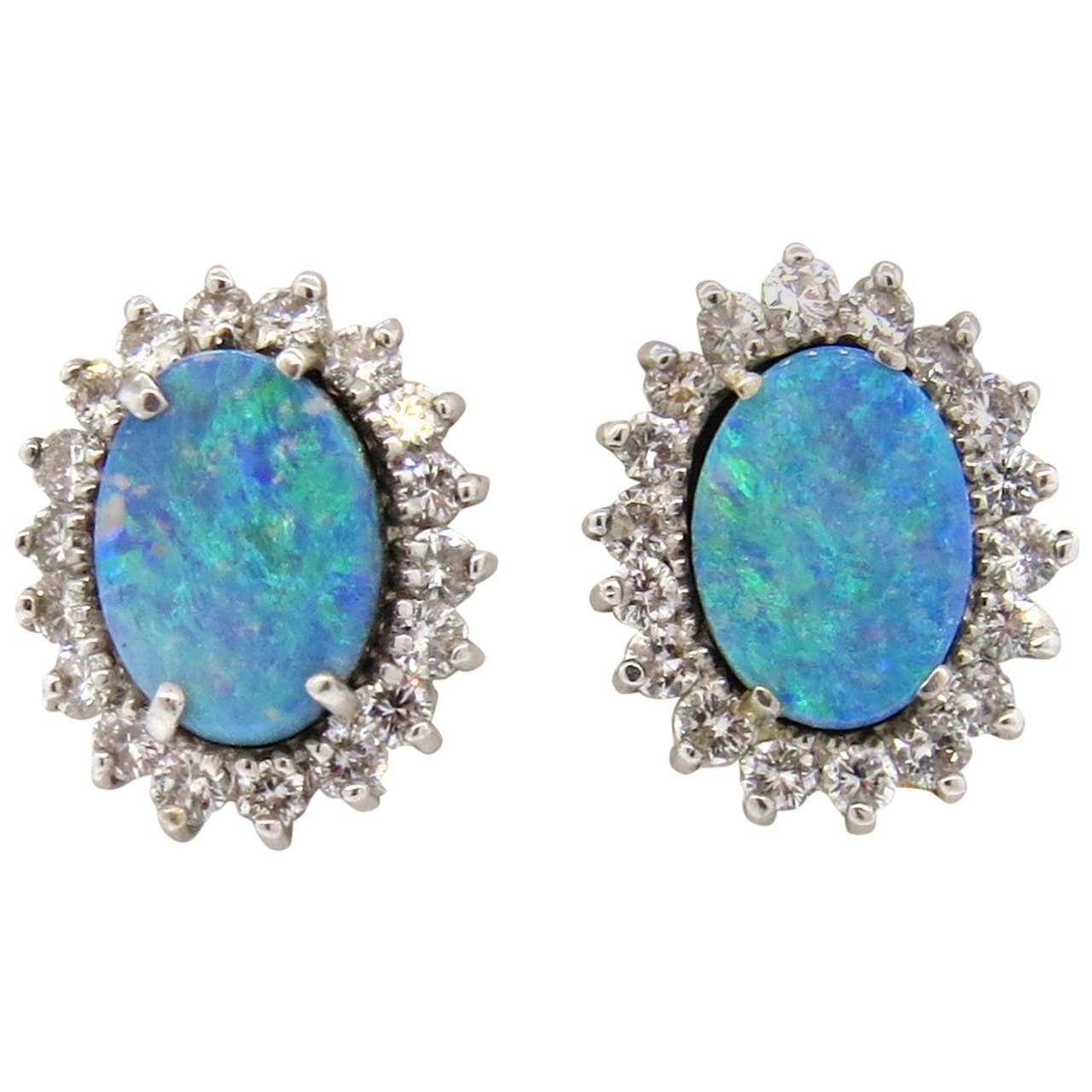 australian black opal diamond gold earrings at 1stdibs