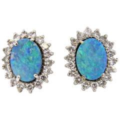 Australian Black Opal Diamond Gold Earrings