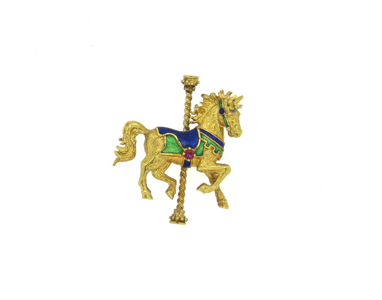 1970s Gold and Ruby Enamel Horse Carousel Brooch Pin 3