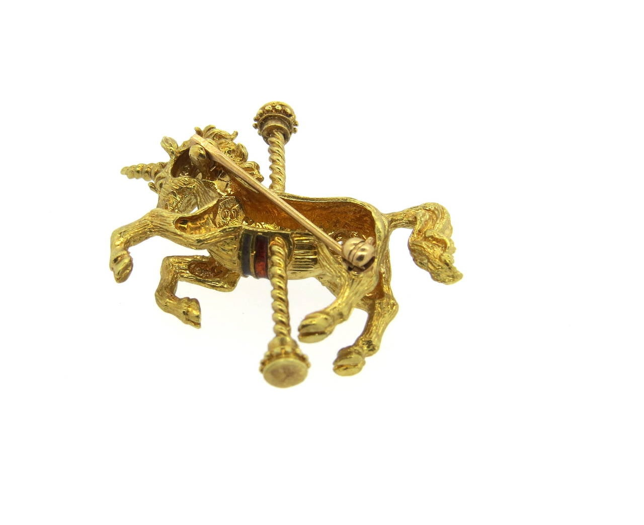 Enamel Diamond Gold Unicorn Carousel Brooch Pin 3