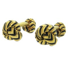Tiffany & Co. Black Enamel Gold Knot Cufflnks