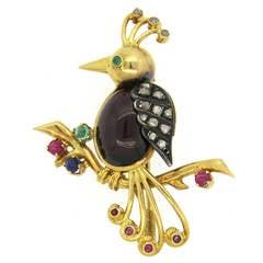 Antique Continental Gold Silver Garnet Sapphire Emerald Diamond Bird Brooch