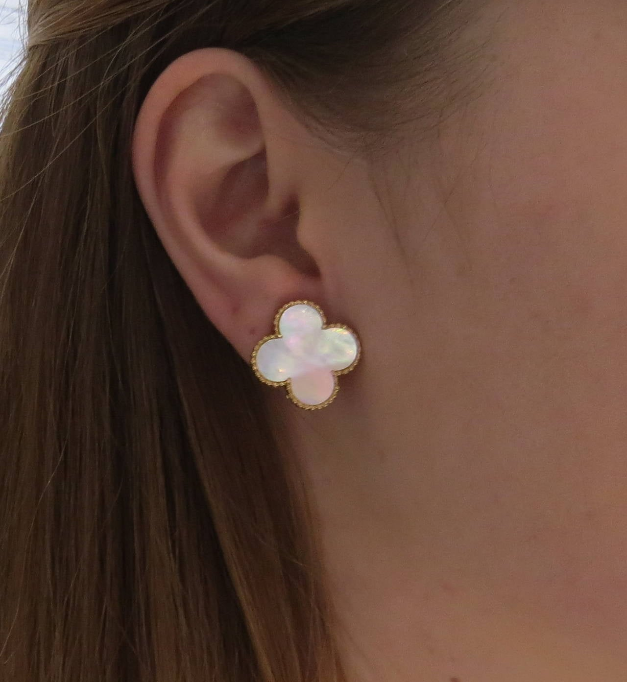 Large Van Cleef Arpels Magic Alhambra Mother Of Pearl Gold Earrings For 1