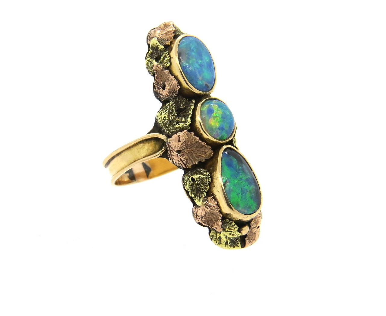 American arts and crafts black australian opal gold ring for Australian arts and crafts