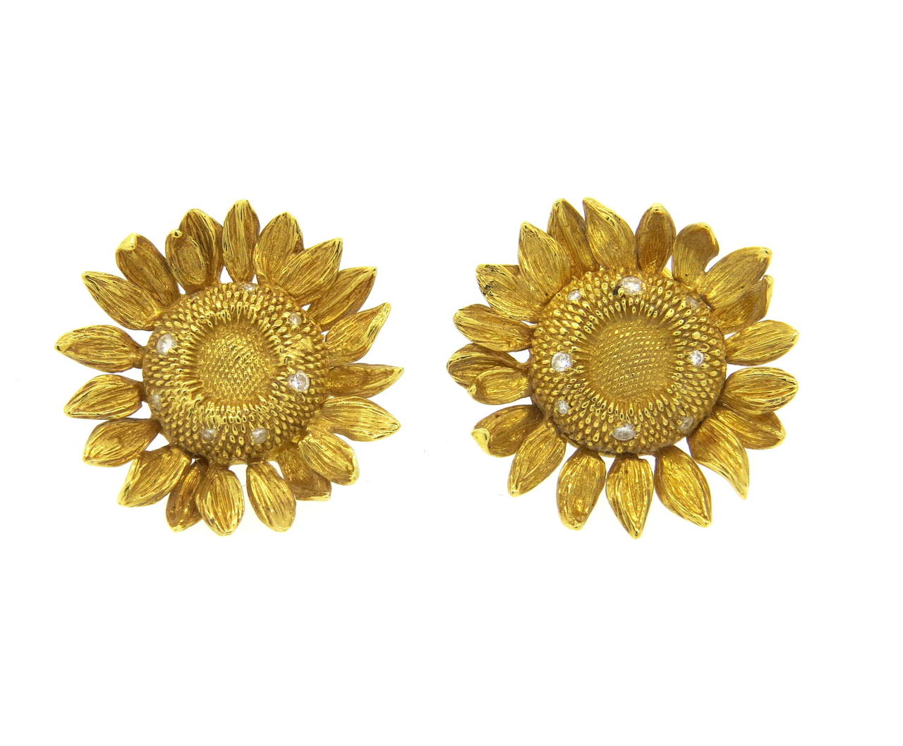 Large 18k Gold Sunflower Earrings Crafted By Asprey Of London Set With Diamonds