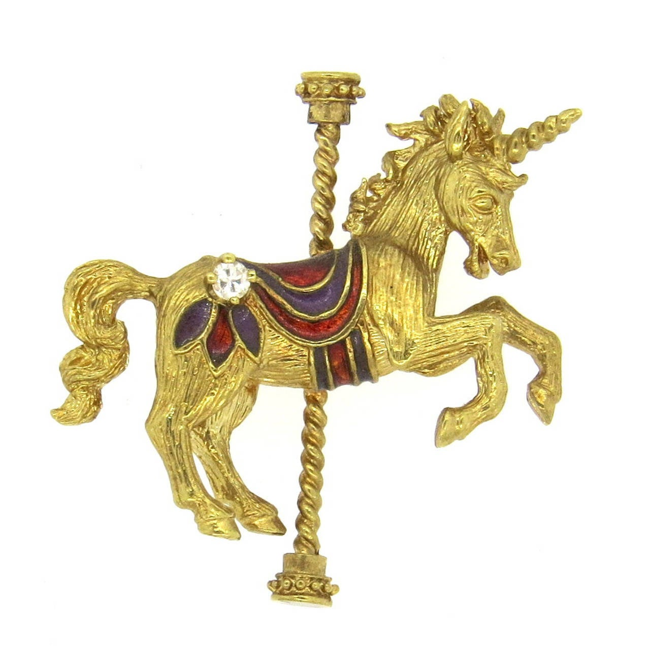 Enamel Diamond Gold Unicorn Carousel Brooch Pin 1