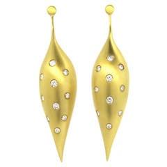 Modernist Ted Muehling Diamond Gold Long Earrings