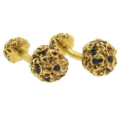 1960s Tiffany & Co. Sapphire Gold Cufflinks