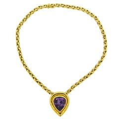 Tiffany & Co. Paloma Picasso Large Amethyst Gold Pendant Necklace