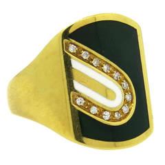 1970s Cartier Diamond Enamel Gold Ring