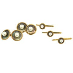K. Uyeda Pearl Mother of Pearl Gold Cufflinks Stud Dress Set