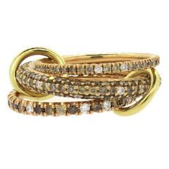 Spinelli Kilcollin Nova Rose Pave Diamond Gold Interlocked Ring Set