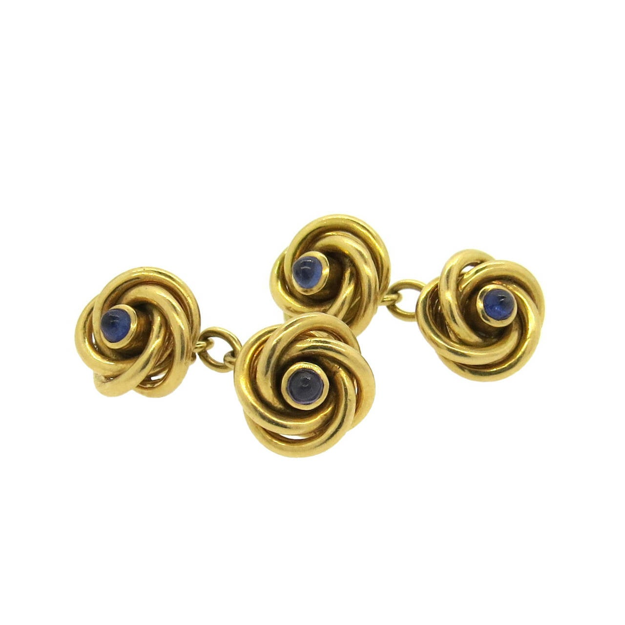 Retro Sapphire Gold Knot Cufflinks