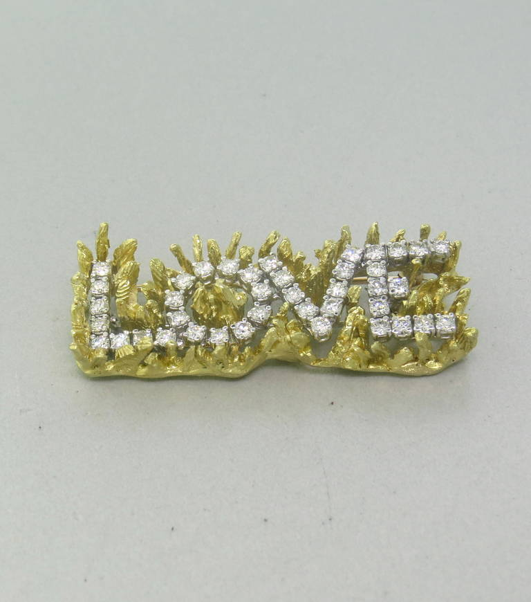 1970s 18k gold 1.40ctw Diamond Brooch Pin set with VS / G-H diamonds.  The pin measures 45mm x 19mm and weighs 19.6 grams
