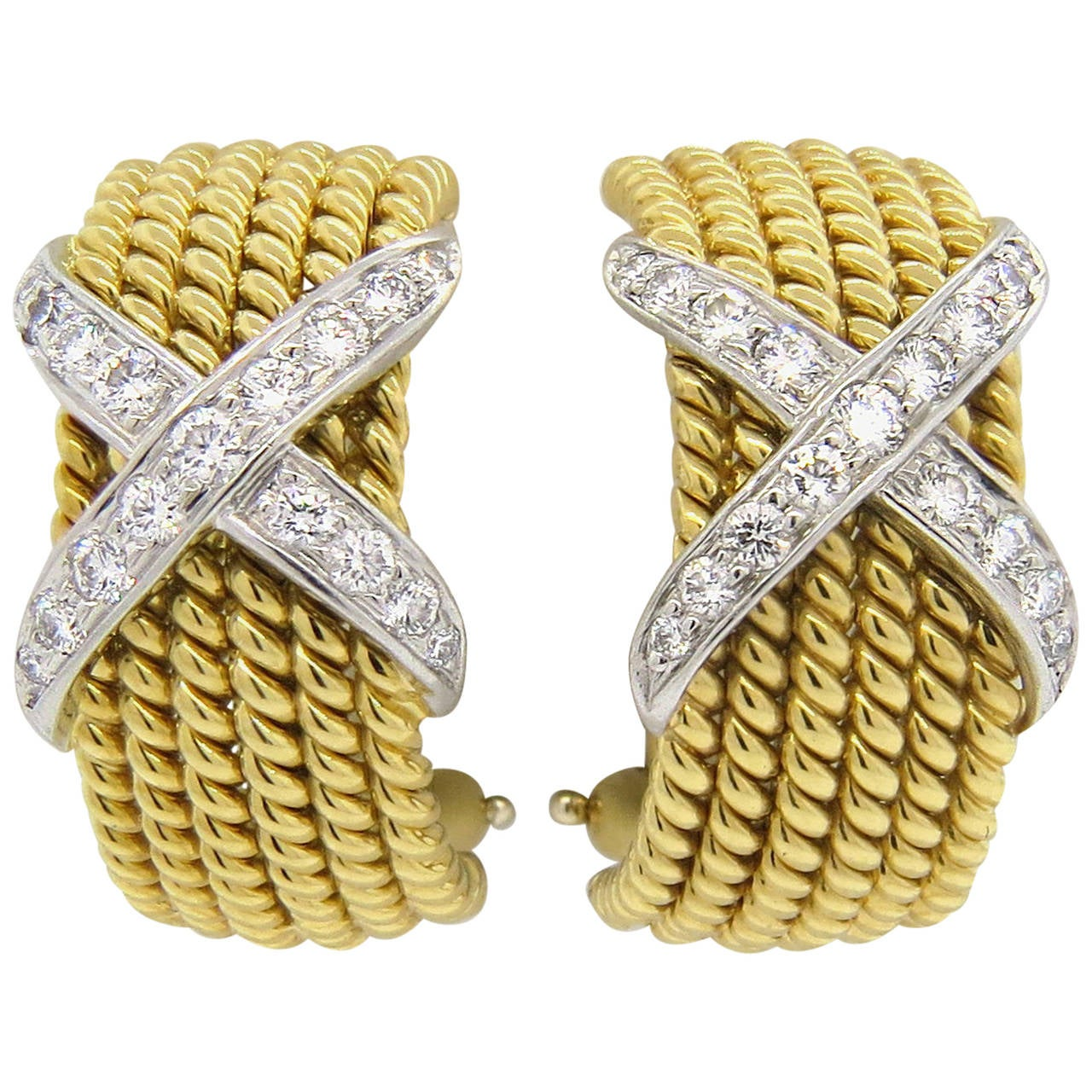 Tiffany & Co Jean Schlumberger Gold Platinum Diamond Six Row Rope Hoop Earrings