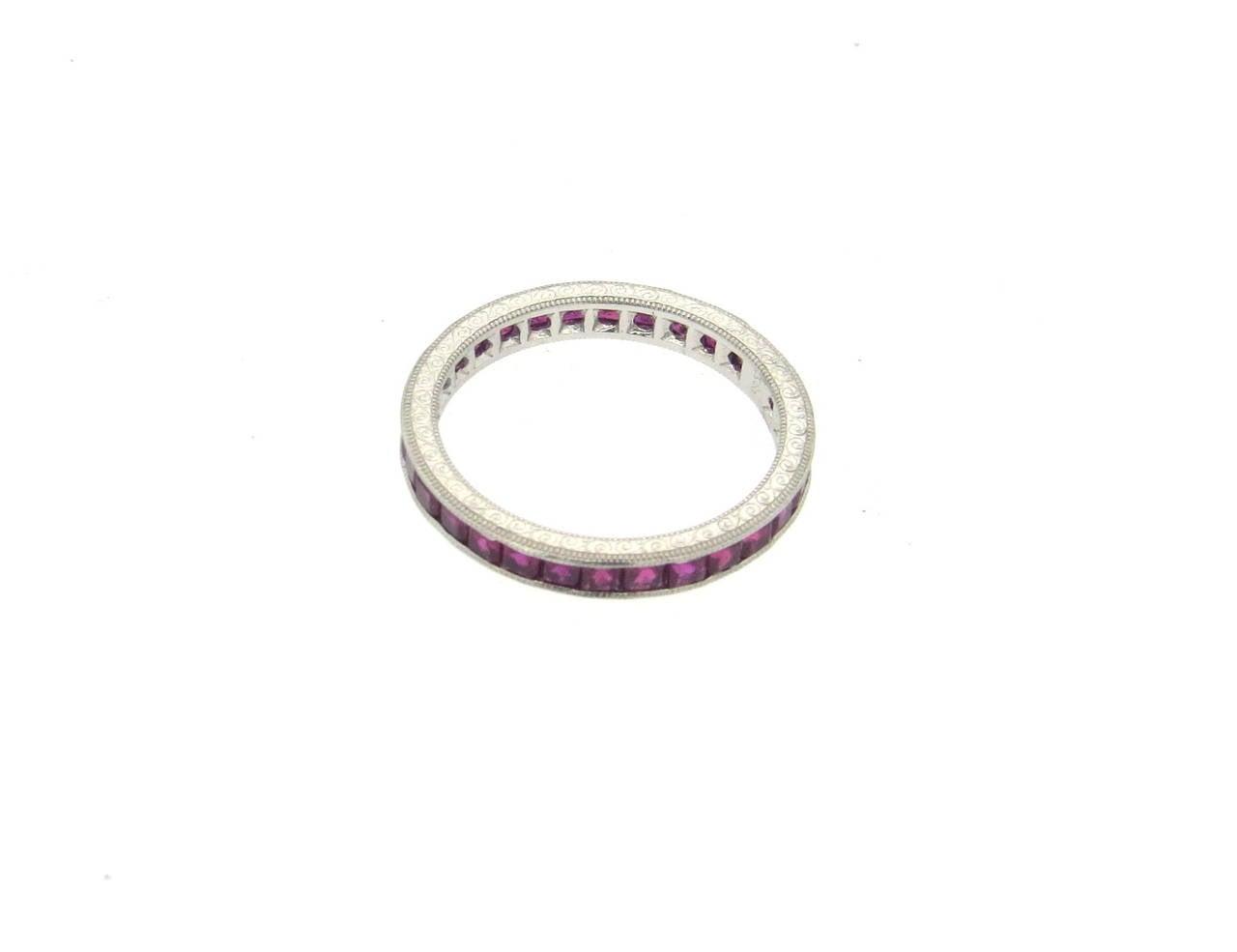 ruby platinum eternity wedding band ring at 1stdibs